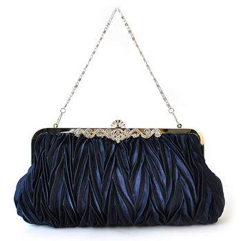 【PETiTEY】優雅緞面鑲鑽晚宴包 手拿包 手提包 手挽包(寶藍)