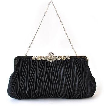 【PETiTEY】優雅緞面鑲鑽晚宴包 手拿包 手提包 手挽包(黑色)