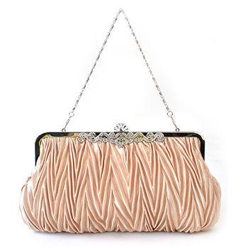 【PETiTEY】優雅緞面鑲鑽晚宴包 手拿包 手提包 手挽包(香檳金)