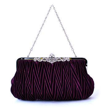 【PETiTEY】優雅緞面鑲鑽晚宴包 手拿包 手提包 手挽包(紫色)