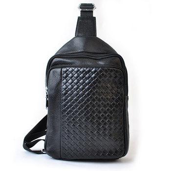 【PETiTEY】全牛皮編織單肩背包 運動包 休閒包 外出包 後背包(黑色)