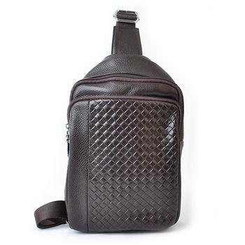 【PETiTEY】全牛皮編織單肩背包 運動包 休閒包 外出包 後背包(咖啡)