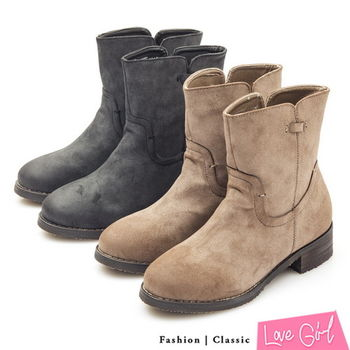 ☆Love Girl☆人氣焦點素面拼接感工程短靴