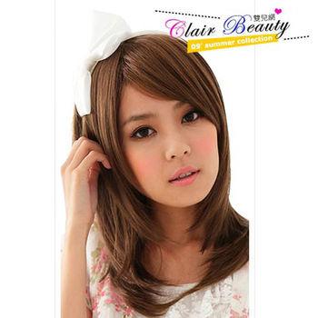 【Clair Beauty】中斜分瀏海修臉層次肩下直髮 假髮 LWA013 自然黑 / 亞麻