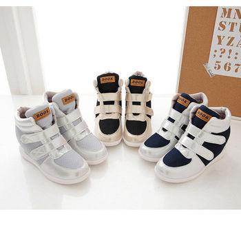 《DOOK》透氣網布亮面拼接黏帶內增高休閒鞋