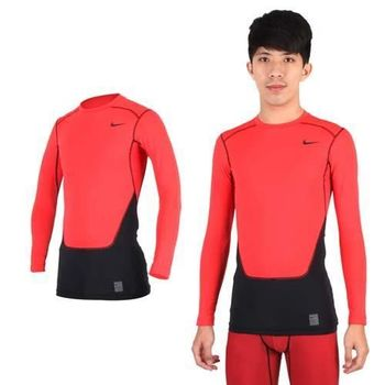 【NIKE】PRO COMBAT男長袖吸濕排汗緊身衣-保暖 慢跑 健身 重訓 T恤 橘紅黑