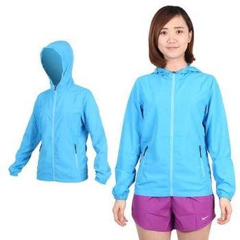 【SOFO】女 可收納薄風衣連帽外套-  慢跑 路跑 天空藍  100%聚酯纖維