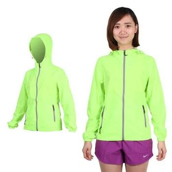 【SOFO】女拉鍊口袋薄風衣連帽外套-可收納  慢跑 路跑 螢光綠