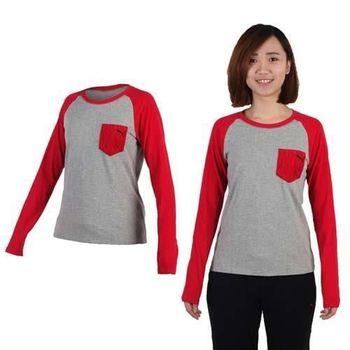 【PUMA】女拼接袖薄長T恤-長袖T恤 休閒 慢跑 灰紅  20%聚酯纖維