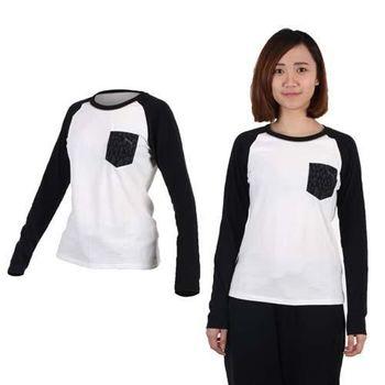 【PUMA】女拼接袖薄長T恤-長袖T恤 休閒 慢跑 白黑  20%聚酯纖維