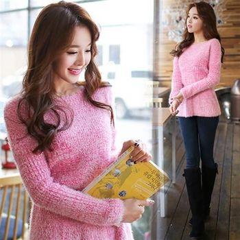 Pink東大門-圓領縮腰裙襬毛上衣(粉)