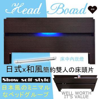 【HOME MALL-日式美學崁燈】雙人床頭片(胡桃)