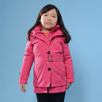 【JORDON 橋登】女童防水防風GORE-TEX外套+羽絨兩件式長大衣贈羽絨毯/羊毛襪(1202)