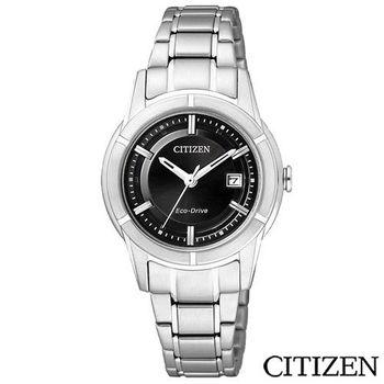 CITIZEN星辰 光動能世紀都會時尚女錶-黑 FE1030-50E