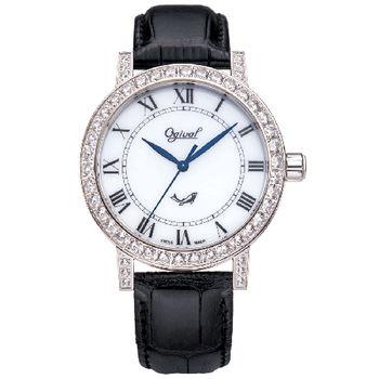 Ogival 瑞士愛其華-文藝復興系列琺瑯機械腕錶(英倫白)388A1550GW
