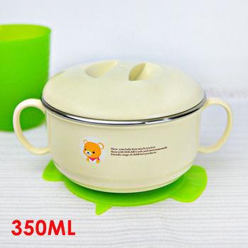 安心照護防滑雙耳餐碗(小) 350ML 隔熱碗 不繡鋼碗