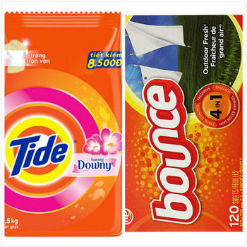 Tide洗衣粉-含Downy/5入箱購(2.5kg*5)+加拿大 Bounce防靜電烘衣芳香柔軟片-四合一(120片)*2