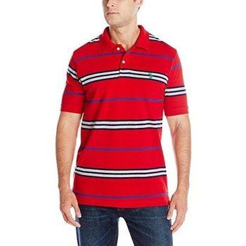 US Polo 2016男時尚小馬球紅色多條紋寬鬆款短袖POLO(預購)
