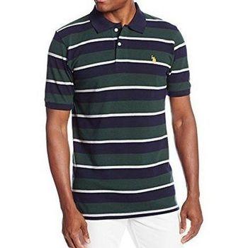 US Polo 2016男時尚小馬球園綠色多條紋寬鬆款短袖POLO(預購)