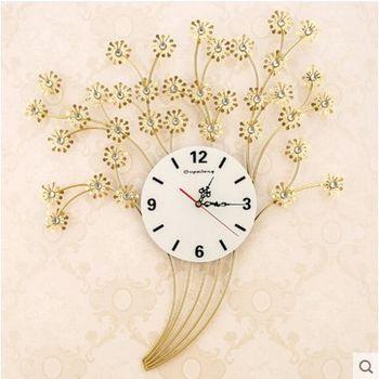 【協貿】創意靜音歐式花朵花束個性臥室大號夜光掛鐘