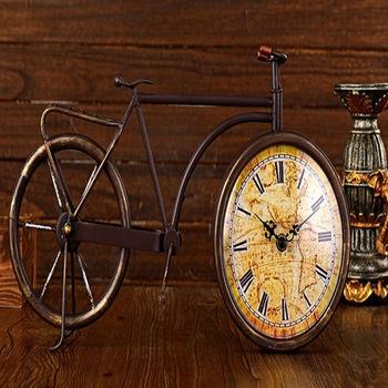 【協貿】歐式田園復古鐵藝古銅色自行車座鐘