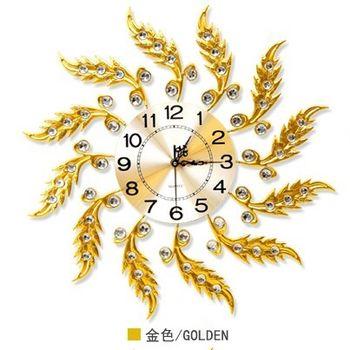 【協貿】現代創意靜音大號歐式金色錶盤圓形石英鐘