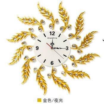【協貿】現代創意靜音大號歐式金色夜光錶盤圓形石英鐘