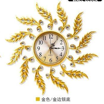 【協貿】現代創意靜音大號歐式金色帶鐘罩圓形石英鐘