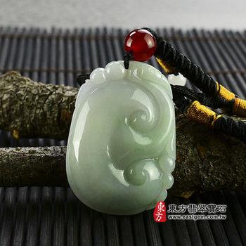 【東方翡翠寶石】圓形如意A貨翡翠吊墜 (油青種,帶紫羅藍) LU005