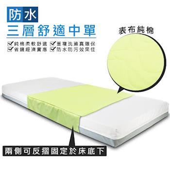 防水三層舒適中單尿墊2入裝(90x75cm)~純棉~可替代看護墊、保潔墊