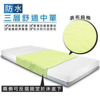 防水三層舒適中單尿墊1入裝(90x75cm)~純棉~可替代看護墊、保潔墊