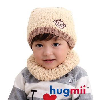 hugmii 兒童保暖雙耳造型帽脖圍組_米