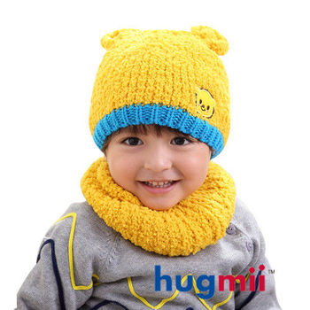 hugmii 兒童保暖雙耳造型帽脖圍組_黃