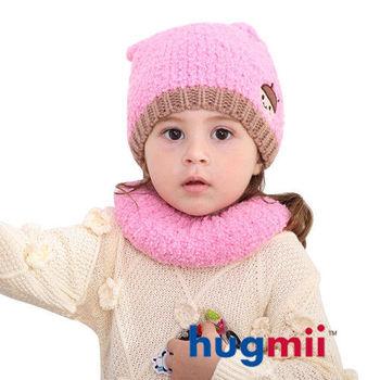 hugmii 兒童保暖雙耳造型帽脖圍組_粉