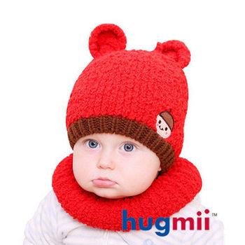 hugmii 兒童保暖雙耳造型帽脖圍組_紅