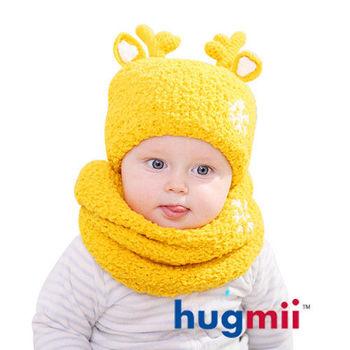 hugmii 兒童保暖麋鹿帽脖圍組_黃