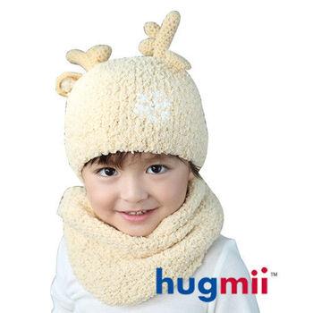 hugmii 兒童保暖麋鹿帽脖圍組_米