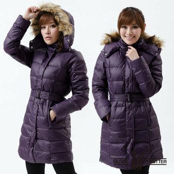 【遊遍天下】禦寒極暖JIS90%羽絨附腰帶長版羽絨大衣(暗紫)