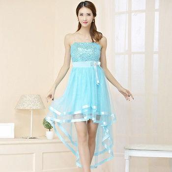 【白色戀人中大尺碼】藍色亮片燕尾網紗小禮服