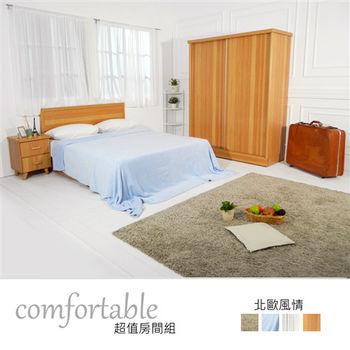 【時尚屋】[WG5]黛西床片型4件房間組-床片+床底+床頭櫃+衣櫃1WG5-40G+3G