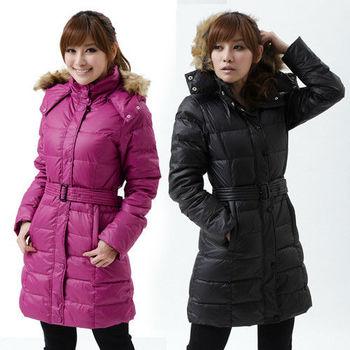 【遊遍天下】禦寒極暖JIS90%羽絨附腰帶長版羽絨大衣(3色)