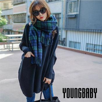 【YOUNGBABY中大碼】高質感鴿子牌 大口袋不規折蝙蝠袖毛衣.共3色