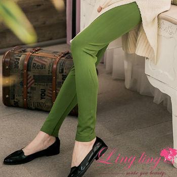 lingling中大尺碼 高腰羅紋抽繩彈力內搭褲長褲(率性綠)A2643-01