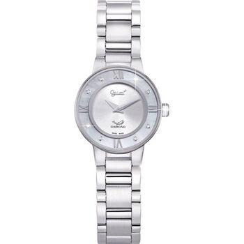 Ogival 瑞士愛其華-晶光水月真鑽石英腕錶(時尚銀)330-01LS