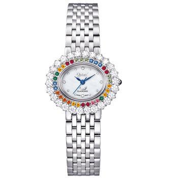 【瑞士愛其華 Ogival】繽紛薔薇系列美型時尚真鑽腕錶(時尚銀)380-032DLS