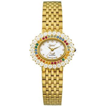 【瑞士愛其華 Ogival】繽紛薔薇系列美型時尚真鑽腕錶(經典金)380-032DLK