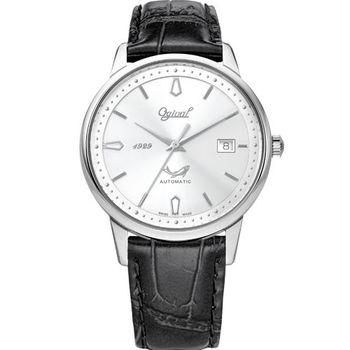 Ogival瑞士愛其華-1929 復刻紀念機械錶(洗鍊黑) 1929-24AGS