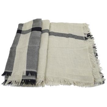 BURBERRY 英系經典格紋羊毛虛虛披肩圍巾/絲巾.米/灰