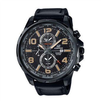 CASIO EDIFICE 世界地圖樣貌呈現運動時尚皮革腕錶-黑-EFR-302L-1A