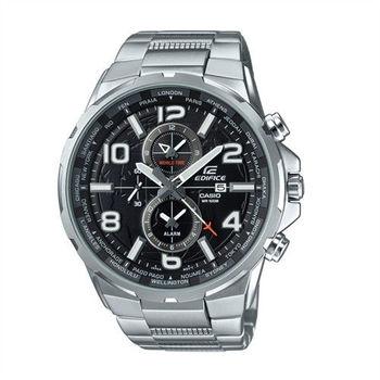 CASIO EDIFICE 世界地圖樣貌呈現運動時尚腕錶-銀-EFR-302D-1A